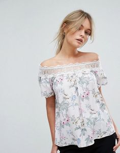 b7db34ae9 Off the shoulder tops for the curvy girl. Board owner. Follow. Oasis Floral  Chintz Lace Trim Bardot Top Oasis, High Street Brands, Bardot Top,