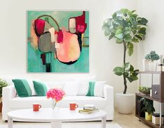 "Art Giclee print of Large abstract painting, hot pink, blue, cream modern abstract painting, PRINT, expressionist painting ""Awakenings #2"""