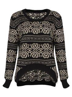 Retro pattern irregular sweater Black US$29.00