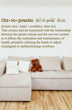 """Chiropractic Defenition - Chiropracter Wall Decal - Chiro Decal 0141 ♦ PRODUCT NO. 0141 ♦ ♦ SIZE OPTIONS ♦ Size: 16"""" H x 36""""W (SMALL) Size: 21"""" H x 48""""W (MEDIUM) Size: 26"""" H x 60""""W (LARGE) Size: 32"""" H"""
