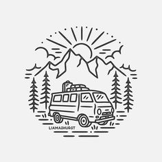 caravan design 295056213086487085 - Had the pleasure of working with on their branding! 🌿 I'm currently on the train back to London ready for another busy week – if you're waiting for a reply please bear with me 🙏🏻 Source by Logo Design, Graphic Design, Design Art, Aesthetic Drawing, Posca, Easy Drawings, Doodle Art, Line Art, Illustration