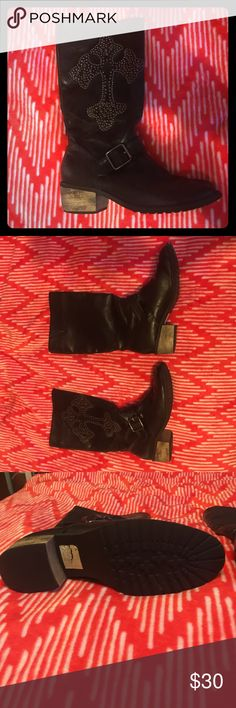 Naughty Monkey Black leather boots Naughty Monkey Black leather boots with stud details. Mid calf rise. Worn a couple times. Great condition! Tags still intact! naughty monkey Shoes Combat & Moto Boots