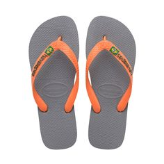 HAVAIANAS BRAZIL LOGO SANDAL STEEL GREY/NEON ORANGE. #havaianas #shoes #all
