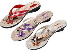 Indistar Womens Nylon Flip Flop Pack Of 3 Pair 8 RedPurpleBrown -- Visit the image link more details.
