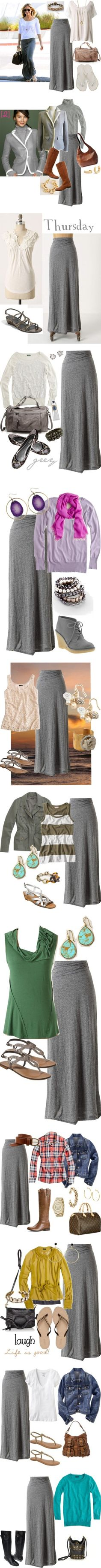 a bunch of different ways to wear a gray maxi skirt - comfy and cute!