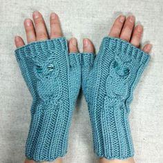 Fingerlose Handschuhe Damen mit Eule, mint