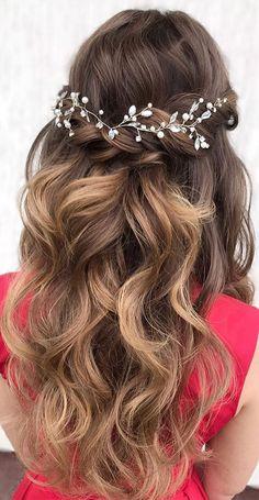 Wedding Hair Half, Long Hair Wedding Styles, Wedding Hairstyles For Long Hair, Bride Hairstyles, Down Hairstyles, Long Hair Styles, Homecoming Hairstyles, On Your Wedding Day, Wedding Hairstyle With Flowers