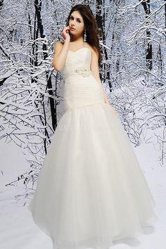 Fit N Flare Sweetheart Organza Sleeveless Floor Length Dramatic Wedding Dresses #princessweddingdress