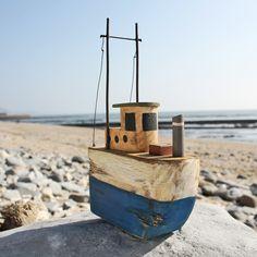 Blue Rustic Trawler | Model Boat | Decorative Boat - buy the sea