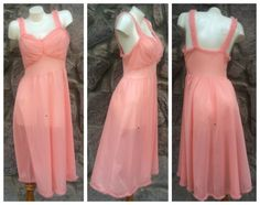 Vintage 50s Gotham Gold Stripe Coral Pink Chiffon Nightgown /Sexy Pin-Up Style / Women's Small to Medium  *i have this EXACT nightgown in a baby blue shade. Excellent condition for age. No visible signs of wear.