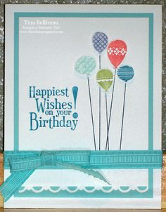 This card uses the Patterned Party and Happiest Birthday Wishes stamp sets from Stampin' Up!®.