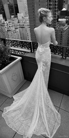 inbal dror 2016 wedding dress with strapless sweetheart sheath lace wedding dress embellished bodice button slit skirt train style 01 bkv