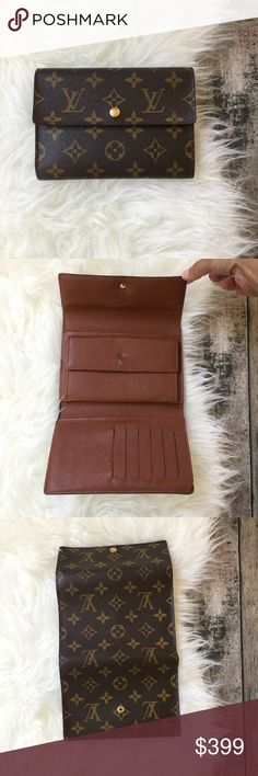 %100 authentic Louis Vuitton tri-fold wallet Lightly used clean. The exterior is in great condition. No attaching or cuts no holes. the interior is very clean as well, there is a loose thread there u put the large bills SEE PIC not noticeable really and I used it that way, also inside one pocket there is some wear u can't tell as it's inside the pocket. No dusts or  box. Louis Vuitton Accessories