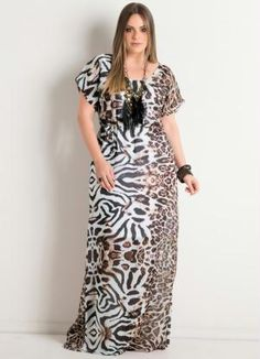 Vestido Longo Animal Print Plus Size - Quintess