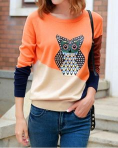 Stylish Scoop Neck Color Block Owl Pattern Long Sleeve Women's Sweater
