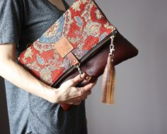 Carpet leather bag Large Leather foldover by VitalTemptation