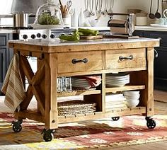 Amazing I Dig That This Is On Wheels.great As Everyday Use Or Movable Buffet For  Entertaining!Hamilton Reclaimed Wood Marble Top Kitchen Island   Large From  ...