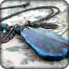 Modern Hippie: teal dyed agate extra long necklace