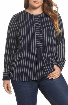 Lucky Brand Trendy Plus Size Striped Blouse In Navy Multi Trendy Plus Size, Plus Size Women, Plus Size Pants, Sister Shirts, Plus Size Blouses, Fashion Branding, Look Fashion, Lucky Brand, Plus Size Fashion