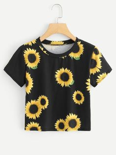 SheIn offers Sunflower Print Crop Tee & more to fit your fashionable needs. SheIn offers Sunflower Print Crop Tee & more to fit your fashionable needs. Crop Top Outfits, Cool Outfits, Casual Outfits, Fashion Outfits, Fashion Fashion, Fashion Online, Fashion Ideas, Vintage Fashion, Casual T Shirts