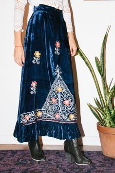 Midnight Blue Velvet 70's Maxi Skirt
