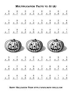Halloween Math Worksheets   ... Operations -- Multiplication Facts to 81 (A) Halloween Math Worksheet