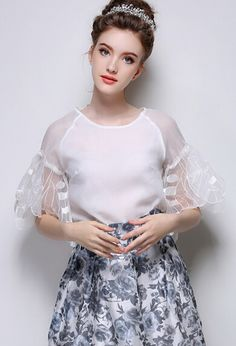 Butterfly Sleeve Organza White Top 18.50