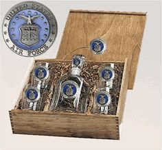 USAF Air Force Capitol Decanter Boxed Set with Pewter - Enamel $165.00