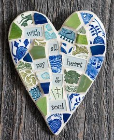 Excited to share this item from my shop: Colorful Whimsical Handmade Mosaic Heart with Personalized Sentiment MADE TO ORDER Mosaic Artwork, Mirror Mosaic, Mosaic Wall, Mosaic Glass, Mosaic Tiles, Glass Art, Classroom Art Projects, Art Classroom, Craft Projects