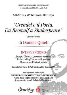 """""""Grendel e il Poeta. Da Beowulf a Shakespeare"""" di Daniela Quieti sab. 4 marzo alle Giubbe Rosse (Firenze)"""