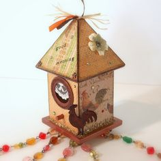 This is awesome! Birdhouse Suncatcher Rooster Country Theme Beaded by rrizzart on etsy