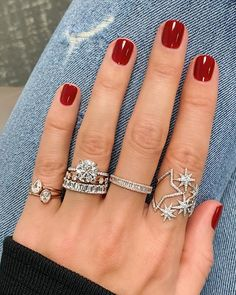 From left to right: Solitaire Teardrop Ring, Diamond Distance Band, Heirloom Baguette Halfway Band, Starry Night Ring Wedding Rings Teardrop, Teardrop Ring, Perfect Nails, Gorgeous Nails, Cute Nails, Pretty Nails, Winter Nail Designs, Dipped Nails, Ring Set