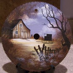 hand paint, paint idea, barn, saw blade painting, painted saw blades