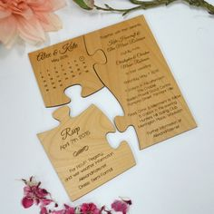 Engraved Wooden Puzzle Wedding Invitation