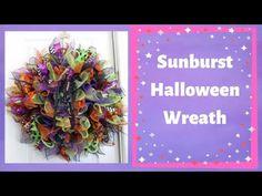 How to make a deco mesh sunburst wreath Halloween style Mesh Wreath Tutorial, Diy Wreath, Wreath Making, Mesh Ribbon Wreaths, Diy Ribbon, Christmas Swags, Christmas Decorations, Christmas Ideas, Deco Mesh Crafts