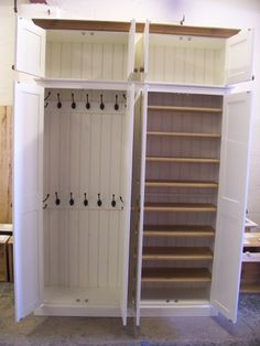 4 Door Hall Coat & Shoe Storage Cupboard with Extra Top Storage - Painted Off White