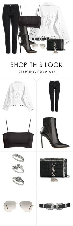 """Untitled #3169"" by camilae97 ❤ liked on Polyvore featuring Topshop, H&M, Gianvito Rossi, Miss Selfridge, Yves Saint Laurent, Ray-Ban and ALDO"