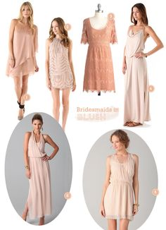 BLUSH! cute options in blush for your bridesmaids