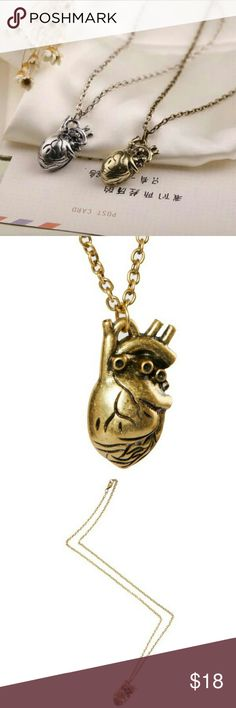 """Brand New Realistic Heart Necklace Silver or Gold Awesome and unique piece! Looks like a real human heart.  Brand new and perfect. Available in silver and gold. Choose color upon checkout.  20"""" chain.   Bohemian boho hippy chic vintage Urban minimalist bar necklace punk Gypsy Jewelry Necklaces"""