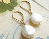 Coin Pearl Earrings Jewelry Pearl Drop Earrings 14kt Gold Filled Lever Back Pearl Bridesmaid Earrings Classic Wedding Jewelry June Birthday