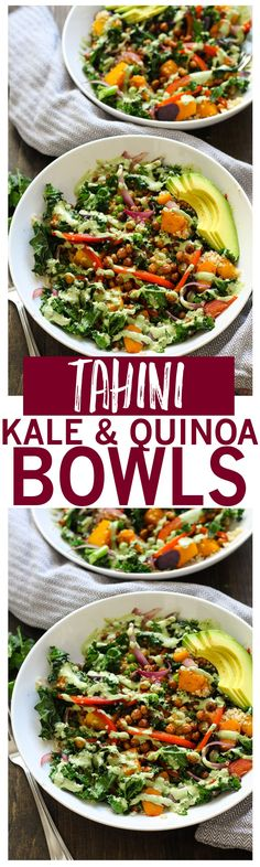 Warm Tahini Kale & Quinoa Bowl with roasted chickpeas and avocado