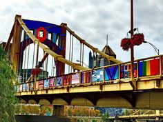 Andy Warhol Bridge, Pittsburgh -Last weekend Pittsburgh's Andy Warhol Bridge was transformed into the United States' biggest -- and probably most colorful -- example of yarn-bombing.