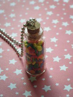 My secret candy stash glass bottle necklace by indieodyssey, $10.00