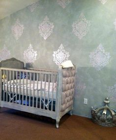 Cross-hatch Stencil Finish on Nursery Wall | Ornamental Cartouche Stencil | Project by Allyson Jones Wong