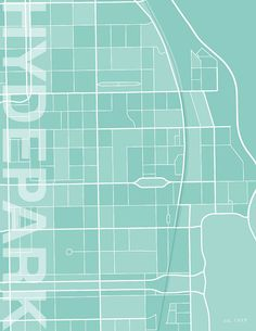 Hyde Park Chicago Illinois Contemporary print street map by Printiquette, $20.00