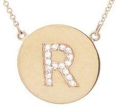 Jennifer Meyer Diamond Letter Necklace - R - Rose Gold on shopstyle.com.au