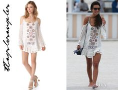 Celebs are loving this T-Bags LA crochet mini dress (seen on Solange elsewhere on this board) -- here it is on Audrina Patridge (July 2013)