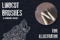 Linocut Brushes for Adobe Illustrator