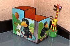 Купить Карандашница Ворона - разноцветный, ворона, карандашница, дети, детская комната, письменный стол, подарок