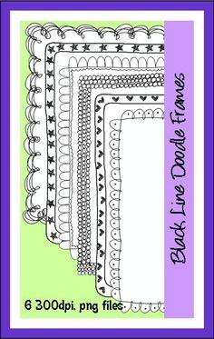 Black line Doodle Frames Commercial use welcome!